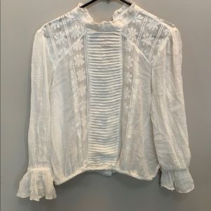 Free People Mock Neck Cropped Blouse
